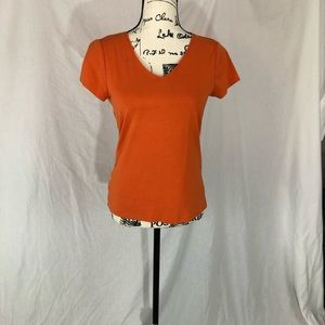 Ann Taylor orange vneck shortsleeved shirt M
